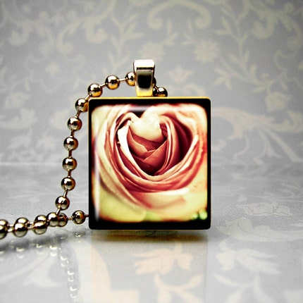 FREE SHIPPING   Acid Rose - Scrabble Tile Necklace