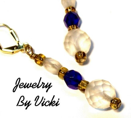 Frosted Cobalt Blue Vintage Bead Dangles