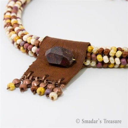 Beadwoven Necklace with Leather and Tourmaline Pendant