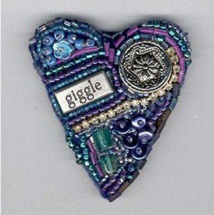 Hand Beaded Blue Heart Pin or Brooch