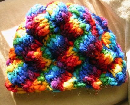 Catch the rainbow - Bulky Entrelac hat at Sunfleur