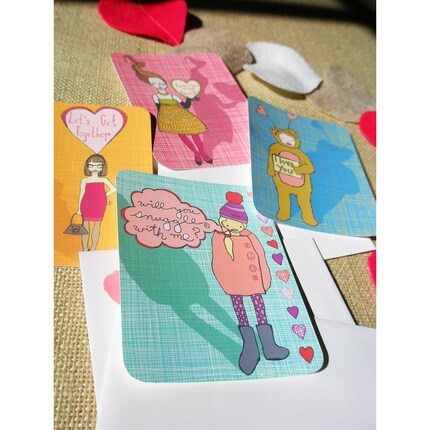 set of 4 VALENTINES