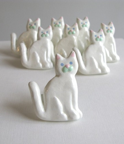 White Cat Metal Drawer Knob - SALE - only 2 left
