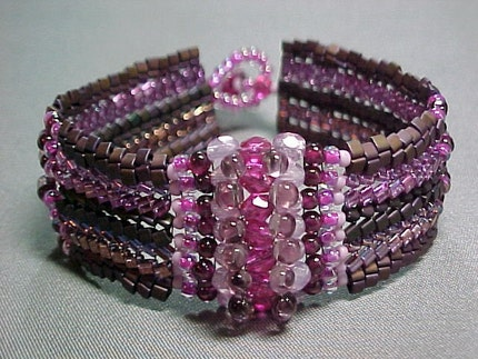 Bronze and Raspberry Bead Woven Bracelet