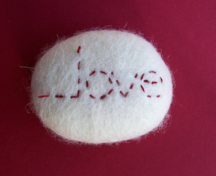 Love, felted stone, paperweight