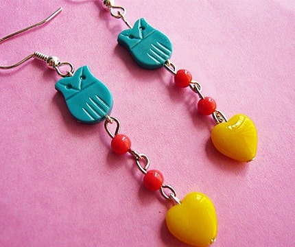 Blue Owl Heart Earrings