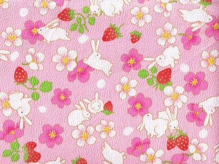 Japanese Bunnies and Strawberries - Pink