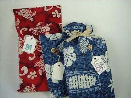 Set of 3 Tropical Fabric Gift Bags - Recycled Hawaiian Shirts - Aloha Cottons - Red and Blue for All Occasions