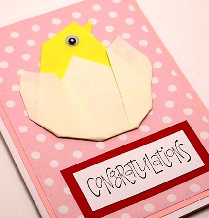 Origami Congrats on New Baby card (pink)