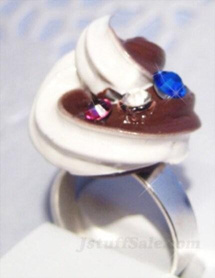 Chocolate vanilla whip cream adjustable ring with swarovski rhinestones