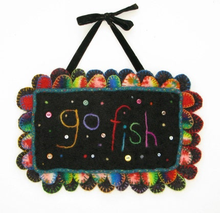 GO FISH recycled sweater felted wool wall hanging