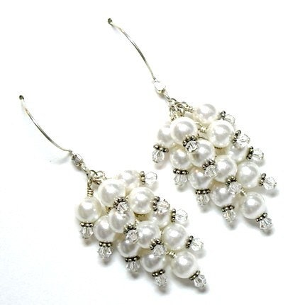White Pearlberry Cluster Earrings by tilleyjewelsbride on Etsy from etsy.com