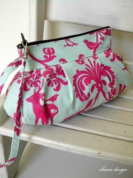 Animal Forest (Pink) - Zipper Pouch with Clip