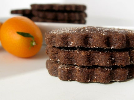 Chocolate Orange Cardamom shortbread cookies