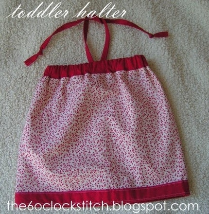 Red and Cream Toddler Halter Top
