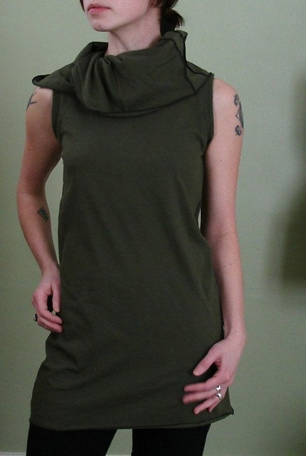 Etsy :: joclothing :: army green sleeveless tunic with collar SIZE SMALL