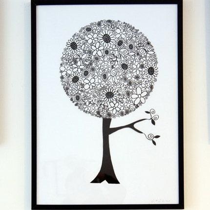 Die cut-Papercut-árvore flor