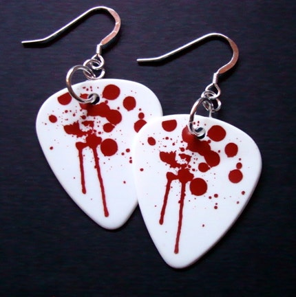 CARRIE a.k.a OH THE HORROR Dripping Blood Guitar Pick Earrings