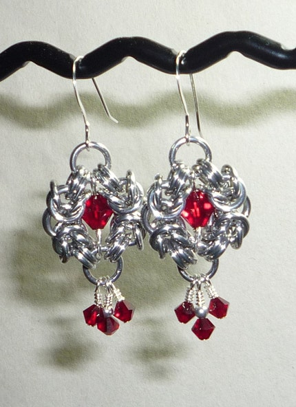 Chainmaille Earrings with Red Crystal Beads by TheBeadedHeart