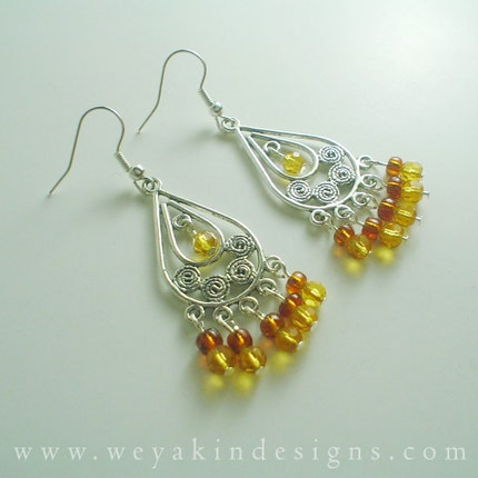 Golden Goddess Earrings by Weyakin Designs