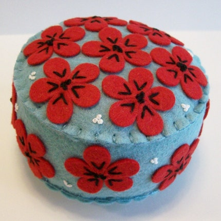 Turquoise and Red Pincushion