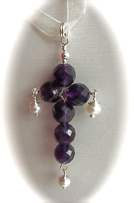 Etsy :: SeasideStudio :: Pendant Amethyst Easter Cross with white pearls