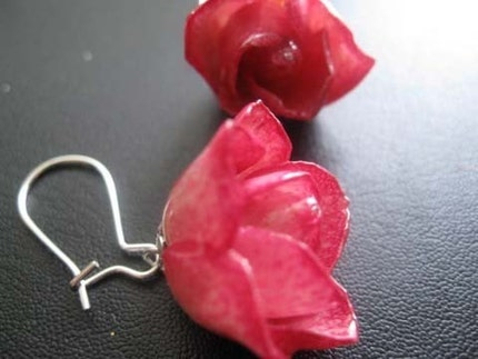 Etsy :: RoyalPrincess :: Romantic - Real Rose Bud EARRING - made from real rose bud