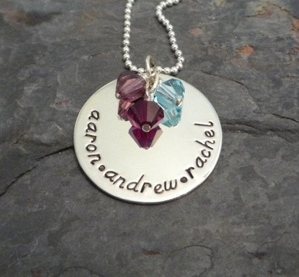 Sterling Silver Hand Stamped Name Tag Necklace with Heart