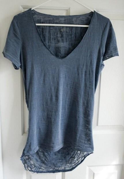 Shredded T-Shirt Sheer Blue Size S/M