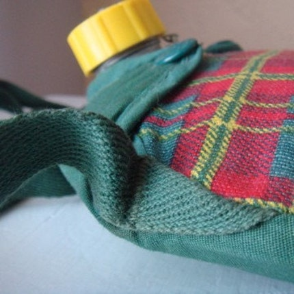 Canteen Girl...Scout, Vintage Silver Girl Scout Canteen with Green, Red, and Yellow Plaid Fabric Cover with Strap