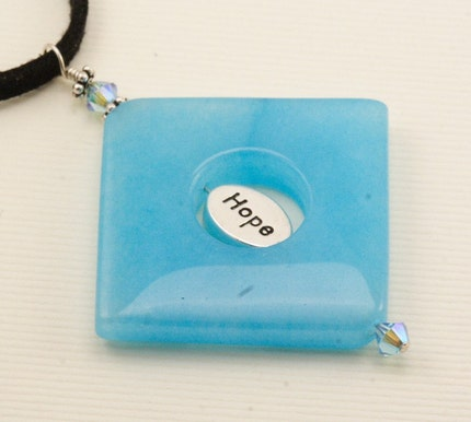 SALE - Blue Jade Hope Necklace