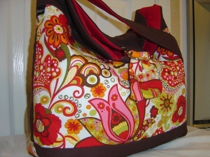 XcessRize Designs DELUX HOBO PURSE DIAPER BAG BOOK GYM TOTE red brown Alexander Henry Mirabelle