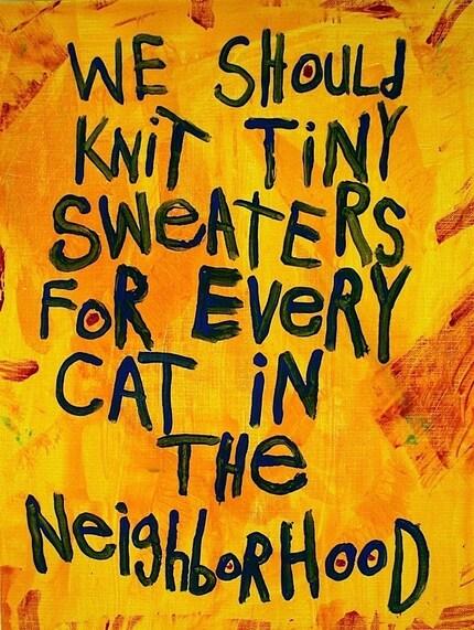 CAT SWEATERS - PRINT of Original WORD ART Painting by LAS VEGAS Artist NAY