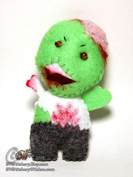 Not-So-Fresh Zombie Pin - hand stitched felt OOAK