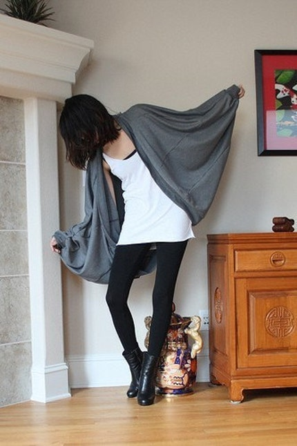 BABOOSHKA Geometric Oversized Boyfriend Cardigan in CHARCOAL GREY