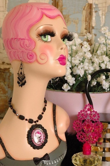 Vintage Style Fantasy Flapper Mannequin Head Hat Stand