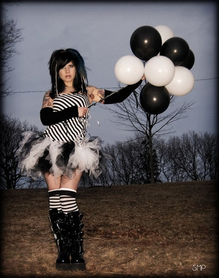 Black and White Tattered TuTu xs Small