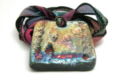 Magical Mystery Raku Pendant...Raku Jewelry by MAKUstudio