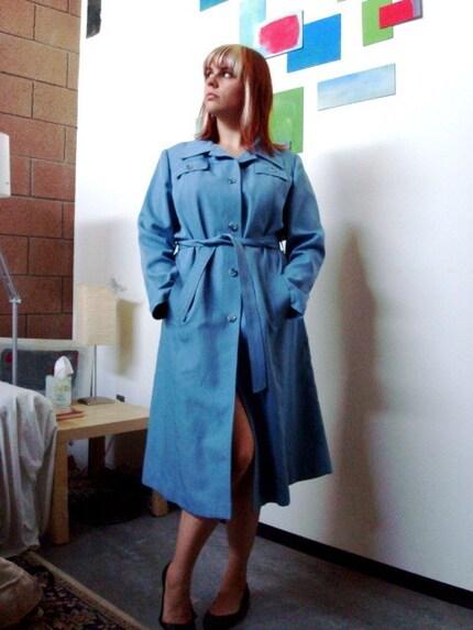 SALE Vintage DORIS DAY Powder Blue COAT Size L/XL