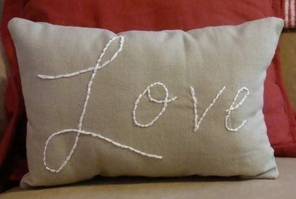 Isn't this embroidered love pillow cute?