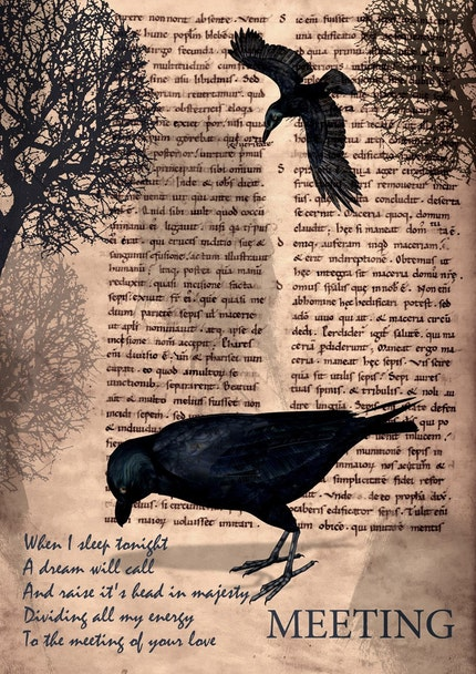 MEETING - Poster print collage with crow in vintage  style - size 8,268 X 11,693 inches