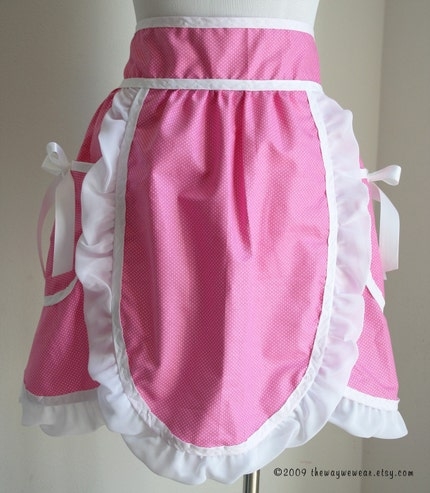 1950s Hostess Petal Apron with Oven Mitt and Potholder Set - Vintage Reproduction (Pink, White Polka Dots) WOMANS SM/MED