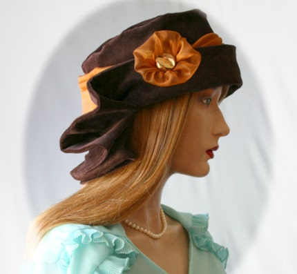 Chocolate Velour 1920s Flapper Cloche Hat .... the 'CLARICE'     IN STOCK