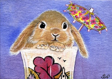 Peter Rabbit on Holiday, Print of an Original Watercolour Painting Aceo Size Miniature 2 1/2 by 3 1/2 inches