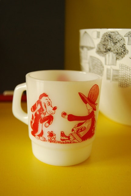 Charming Milk Glass with Girl and Puppy