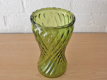 SALE Vintage SPRING GREEN Glass Vase (Tall / Decorative)