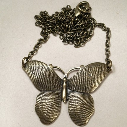 Brass Butterfly Necklace by chrysdesignsjewelry on Etsy