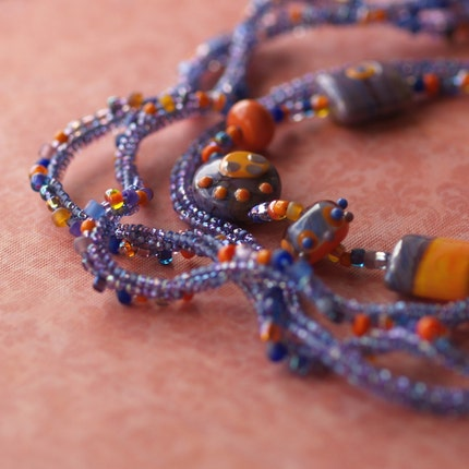 Over the Moon - Purple and Orange Combine in a Multi-Strand Necklace / Choker (3035)