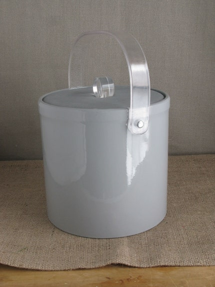 1970s Lucite and Vinyl Ice Bucket with Suede Lid