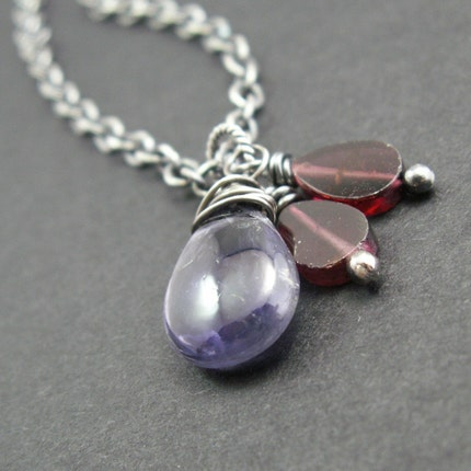 handcrafted jewelry necklace iolite garnets sterling silver oxidized